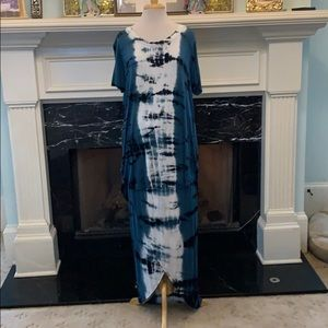 Mossimo teal/blk/white tie dye tunic and skirt